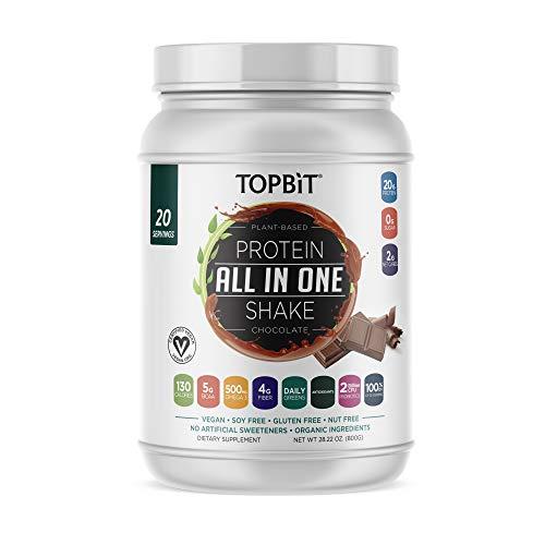TOPBiT AllinOne Plant Protein Powder Chocolate  Vegan Protein Powder Sugar Free Protein Stevia Free