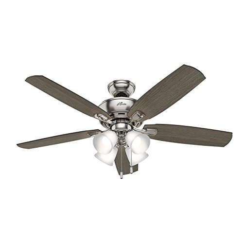 Hunter Amberlin LED 52-in Brushed Nickel Indoor Downrod Or Close Mount Ceiling Fan with Light Kit