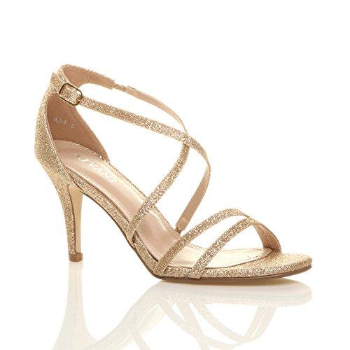 Glitter Heel Gold Ajvani Women Sandals Size High Shoes 8qCxTqw