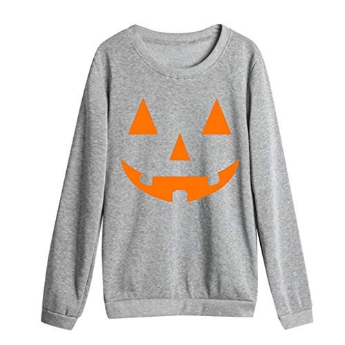 Xinantime Women Sweatshirt Halloween Party Women Casual Pumpkin Print Full Sleeve O-Neck Loose Top Blouse Gray