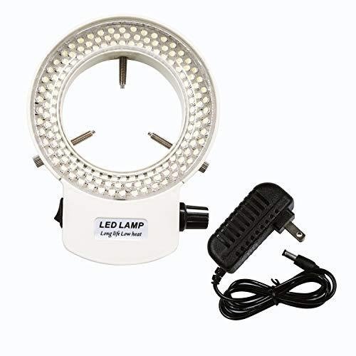 Micrl Microscope Ring Light Adjustable 144 LED Illuminator for Stereo Microscope & Camera (White)