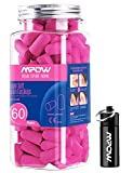 Mpow 055A Ear Plugs 60 Pairs, Super Soft Foam Ear Plugs 34dB SNR, Noise Reduction Hearing Protector, with Aluminum Carry Case, for Sleeping, Woodworking, Shooting, Travel, Loud Events- Rose Pink