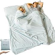 Cotton Sleeping Bag Liner Ultralight | Camping Sheets Lightweight | Queen Travel Sheet Sleep Sack Adult | Trav