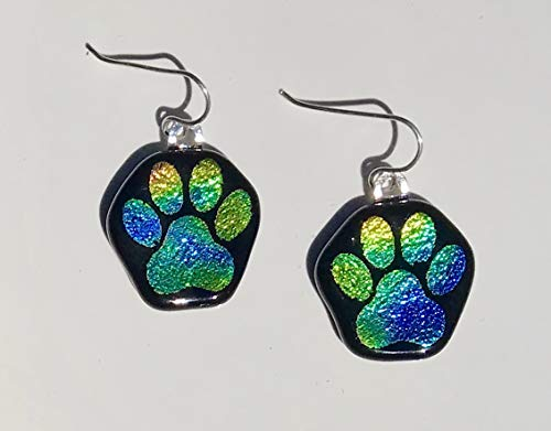 Green Blue Yellow Dog Paw Laser Engraved Etched Dichroic Fused Glass Earrings with Solid Sterling Silver Ear ()