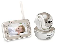 Watch as your toddler moves about with the VTech VM343 Expandable Digital Video Baby Monitor with Pan and Tilt Camera and Automatic Night Vision. This monitor features digital transmission, making your videos private and secure while cutting ...