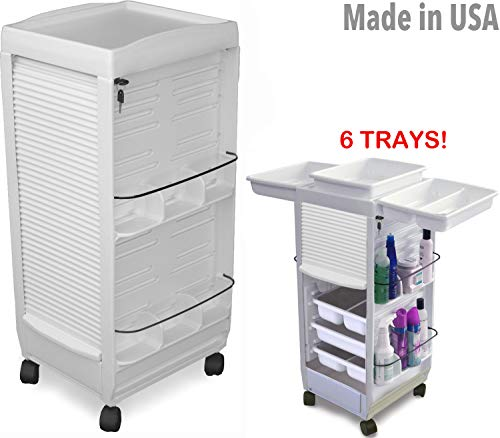 C180E-6 Trays Aesthetics White Salon SPA Rolla-Bout Trolley Cart Lockable by Dina Meri