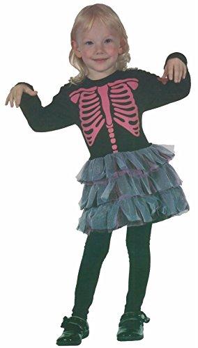 Toddler Skeleton Dress (Girls Pink Bones Skeleton Toddler Halloween Fancy Dress Children Party Costume#(Skeleton Girls Toddler Costume#Under 4 Year#Girls))