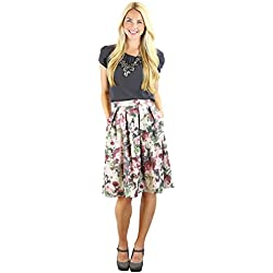 Pleated Full A-Line Modest Skirt in Gray w/Pink Floral Print
