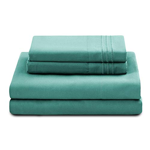 - Natural Life Home Verno Embroidered Stripe Pattern 4 PC Bed Sheet Set – Ultra Soft Premium Double Brushed Microfiber – Wrinkle & Fade Resistant, Hypoallergenic. (Full, Aqua)
