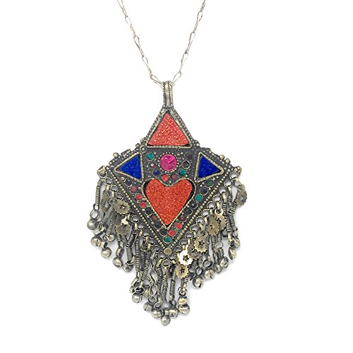 Afghani Gypsy African Statement Pendant in Red Stone with Chain (Exotica Pendant)