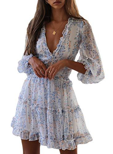 Dokotoo Womens Sun Casual V Neckline Long Sleeve Open Back Floral Print Mini Dress Bohemian Fashion Skater A Line Ruffle Hem Beach Dresses White Medium