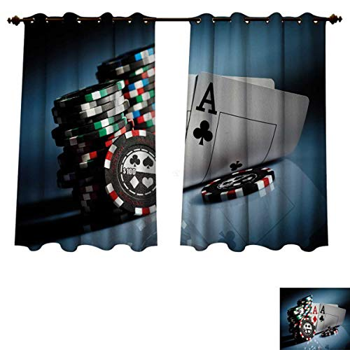 (RuppertTextile Poker Tournament Decorations Blackout Thermal Curtain Panel Gambling Chips and Pair Cards Aces Casino Wager Games Hazard Patterned Drape for Glass Door Multicolor W72 x L45)