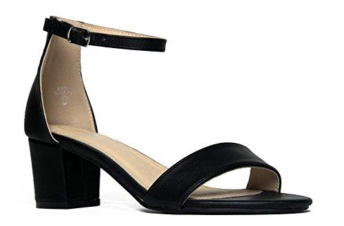 Daisy Mid Heel Sandal, Black PU, 7.5 B(M) US