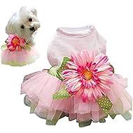 Small Dog Yellow//Blue Wedding Dress Flower Girl Skirt Puppy Summer Clothes