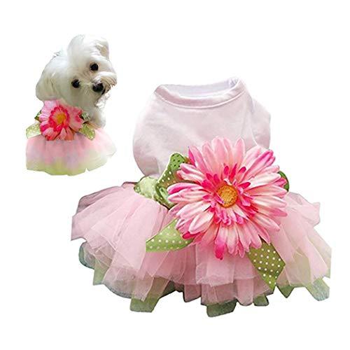 (Petea Daisy Flower Gauze Tutu Dog Dress Vest Apparel Skirt Clothes Pet Puppy Bowknot Princess Clothes for Dogs and Cats (L))