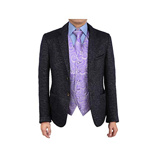 (Epoint EGD1B01A-XL Medium Purple Paisley Vest Microfiber Christmas Tuxedo Vest Neck Tie Set Discount For Groomsmen)