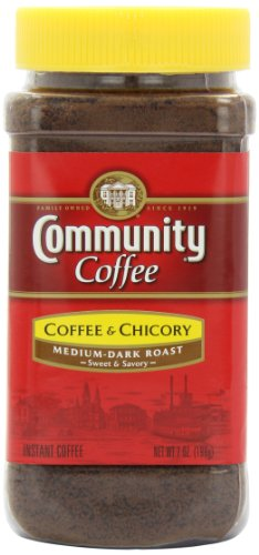 Community Coffee and Chicory Medium Dark Roast Premium Instant 7 Oz Jar (4 Pack), Full Body Rich Flavorful Taste, 100% Select Arabica Beans