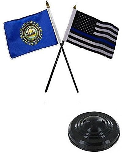 ALBATROS New Hampshire State with USA Police Blue 4 inch x 6 inch Flag Desk Set Table Stick with Black Base for Home and Parades, Official Party, All Weather Indoors Outdoors -
