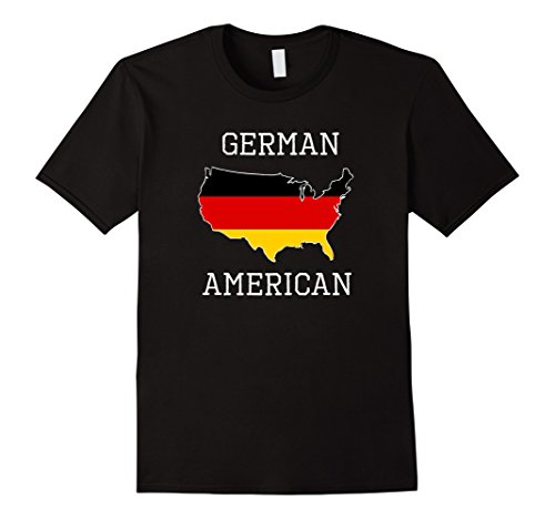 Men's German American - Half Germany Half America Flag T-Shirt Medium Black