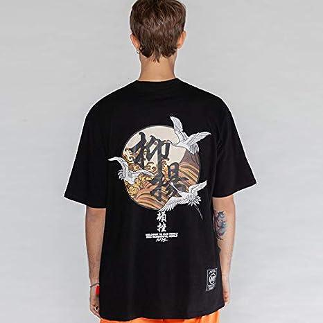 DXYXHLK Estilo japonés Harajuku Crane Impreso Camisetas Hombres Mujeres Tops de Manga Corta Camisetas Moda Hombre Camisetas Asiático L Negro: Amazon.es: Deportes y aire libre
