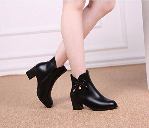 Las Mujer 40 KHSKX Suave Más 38 Zapatos Otoño Madre De Cuero Invierno Cortas Imitación De Algodón Botas Cálido Negro Zapatos De Terciopelo 6Cm Antideslizante Irregular Mujer Zapatos Con De Antiguas xHrCXwAHq