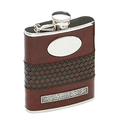 (Carrolls Irish Gifts Mullingar Pewter Stainless Steel Whiskey Flask with Leather and Shamrock)
