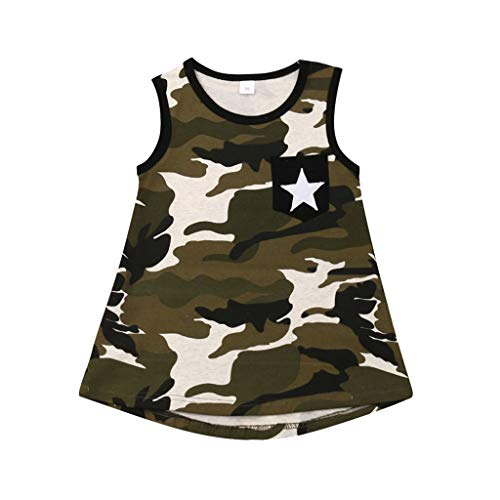 2Piece Newborn Infant Toddler Baby Girls Outfits Set,Sleeveless Stars Camouflage Print Shorts Pants Floral Print Kids Suit