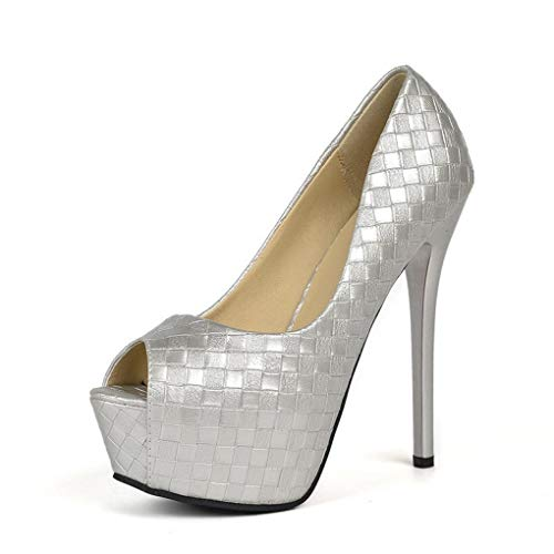(GanQuan2018 Women Platform Peep Toe Pumps Summer Thin High Heels Slip on Wedding Party Shoes)