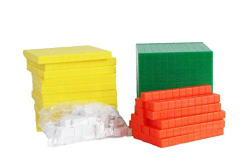 Curiosity City - Base Ten 10 Blocks Set Plus Worksheets - Place Value Math Manipulative Block Starter Kit for Homeschool, Classroom, Tutoring, Homework (Cubes Value Place)