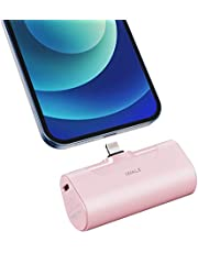 iWALK Mini bärbar laddare på 4 500 mAh, ultrakompakt powerbank, litet och sött batteripaket som är kompatibel med iPhone 12 Mini/12/12 Pro/12 Pro Max/11 Pro/XS Max/XR/X/8/7/6/Plus, Airpods med mera. Rosa