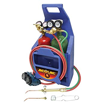 Image of Kits Ameriflame T100AT Medium Duty Portable Welding/Brazing Outfit with Plastic Carrying Stand Plus Oxygen & Acetylene Tanks