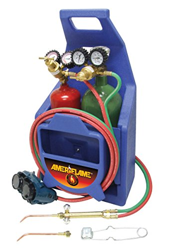 Photo Ameriflame T100AT Medium Duty Portable Welding/Brazing Outfit with Plastic Carrying Stand Plus Oxygen & Acetylene Tanks