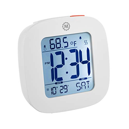 Marathon Small Compact Alarm Clock with Repeating Snooze, Light, Date and Temperature Travel Collection. Batteries Included. Color - White. SKU - CL030058WH