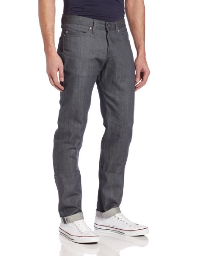 Naked & Famous Denim Men's WeirdGuy Low Rise Tapered Leg Jean In Grey Selvedge, Grey Selvedge, 38x35 by Naked & Famous Denim
