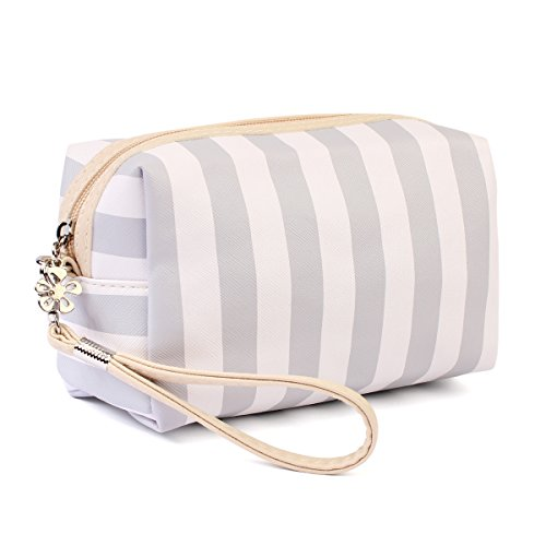 Multifunction Portable Travel Organizer - Cosmetic Makeup Pouch/Toiletry Purse/Jewelry Bag/Print School Pencil Case/Metallic Zip Clutch/Striped Wristlet (Rectangle Wristlet - Grey Stripe)