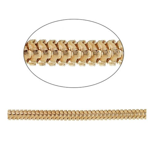 - Continuous Length 2 Metres Pale Gold Metal Alloy 3mm Foxtail Link Chain - (CH2975) - Charming Beads