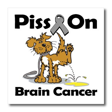 3dRose Piss on Brain Cancer Awareness Ribbon Cause Design-Iron on Heat Transfer, 8 by 8
