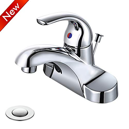 WOWOW Bathroom Faucet 1 Handle Low Arc Lead Free Single Handle 4 inch Centerset Bathroom Sink Faucet with Pop Up Drain Assembly Basin Mixer Tap Chrome Vanity Faucet ()