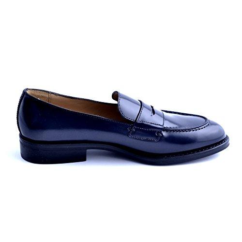 Soldini Chaussures Mocassins Femme Cuir Bleu Fabriqué En Italie Taille 40