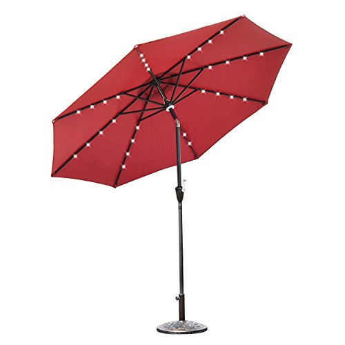 Elecwish 9ft Outdoor Round Patio Umbrella, with 32 LED Solar Lights and Central Hub Light, 3 Lighting Modes, Tilting and Crank, Waterproof Polyester Canopy, PA Coating and 98% UV Protection - Red