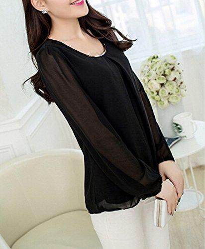 Moda gasa seda de Negro Blusa moichien Top cuello Camisa Largo Xxxl Coreano mujer redondo de para delgada Camisa Ai de v81SqwEw