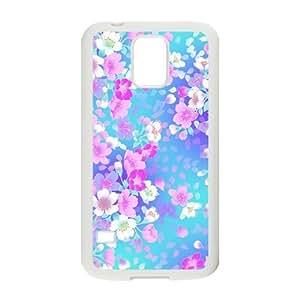 Custom Case Soft TPU Skin for Samsung Galaxy s5 i9600 Cover, Flower Galaxy s5 Cover - Black/White