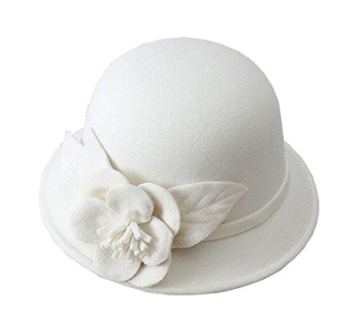 Womens Flower Felt Cloche Bucket Hat Dress Winter Cap Fashion, by FUNNY365 (White)