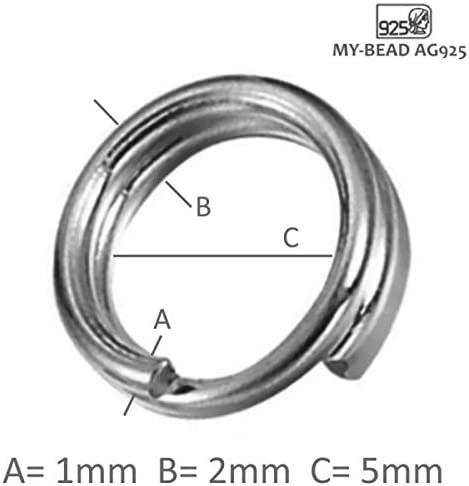 My-Bead 20 St/ück Spaltringe doppelt 5mm x /Ø 1mm Drahtst/ärke 925 Sterling Silber nickelfrei hypoallergen Federringe DIY