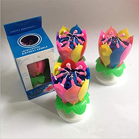 cho 6 Colores Pastel m/ágico cumplea/ños Flor de Loto Flor Musical giratoria Torta decoraci/ón Herramientas Multicolor