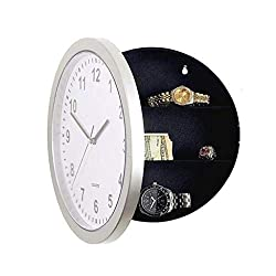 charmsamx Wall Clock with Hidden Safe 10 Wall Clock Diversion Safe Wall Clock for Secret Stash Money Cash Jewelry Non Ticking Silent Wall Clock Battery Operated Quiet Wall Clock (White)