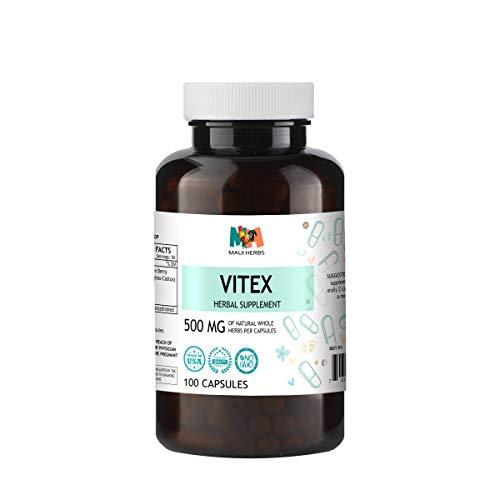 Vitex 100 Capsules, 500 mg, Organic Vitex Berry (Chaste Tree, Vitex Agnus-Castus)