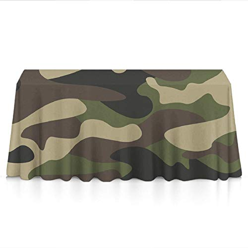KYWYN Premium Table Cloth - Green Brown Camo Camouflage - Table Overlay/Cover Tapestries for Brunches,Dinners,Buffet Table,Birthday,Picnic,X-mas,Holiday,New Year Decoration(60