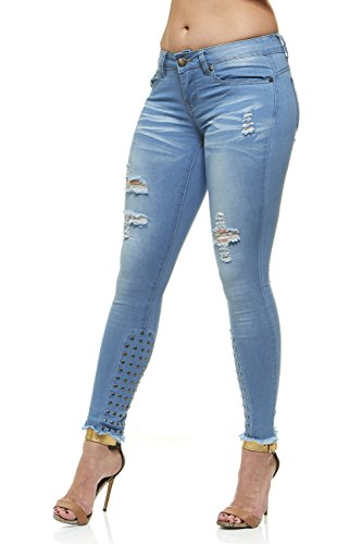 Cigarette Leg Stretch Jeans (V.I.P.JEANS Women's Studed Embroidery, Tight Slim Fitting, Junior Sizes, Light Blue Wash, Light Studed, 15)