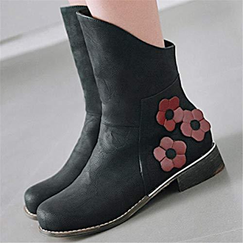 Calf Floral PU Toe 1black Women's Flowers Autumn Flat Boots Mid Round Kaloosh n6qzx7pE7w